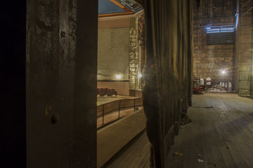 Backstage in vintage theater