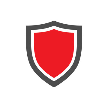 Protection shield icon with red center placed on white