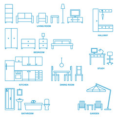 Vector home furniture outline icons 4