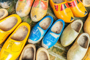 Colorful vintage Dutch wooden clogs