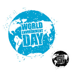 World Environment Day. Earth in grunge style. emblem of planet e