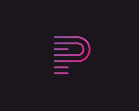 Line letter P logotype. Abstract moving airy logo icon design, ready symbol creative vector sign.