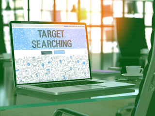 Target Searching Concept. Closeup Landing Page on Laptop Screen in Doodle Design Style. On Background of Comfortable Working Place in Modern Office. Blurred, Toned Image. 3D Render.