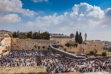 The Western Wall of Temple filled with people