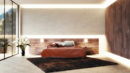 Modernes Schlafzimmer (3D render)