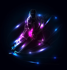 Vector abstrakt background with hockey player