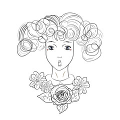 Vector beautiful  girl with surprise face, hair and flowers and rose.Graphic black and white vector  illustration.