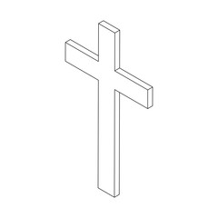 Christian Cross icon, isometric 3d