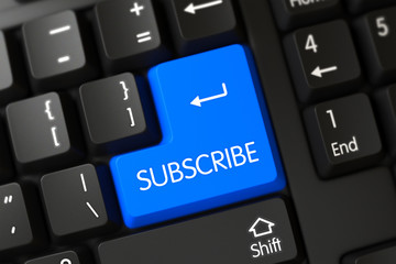 Computer Keyboard with the words Subscribe on Blue Button. Subscribe Button. Subscribe Close Up of PC Keyboard on a Modern Laptop. Subscribe Key on Modernized Keyboard. 3D.