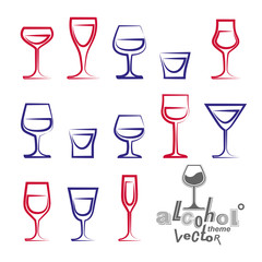 Vector glasses collection, martini, wineglass, cognac, whiskey
