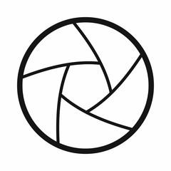 Camera shutter aperture icon, simple style