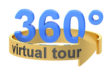 Virtual Tour, 360 degrees concept. 3D rendering