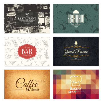 Business card set. 6 bright visiting cards. Food and drink theme. For cafe, coffee house, restaurant, bar