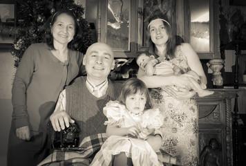 Retro portrait of happy family