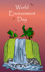 Illustration freehand drawing of waterfall nature landscape for the world day of environmental protection sunset