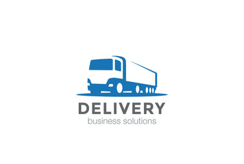 Delivery Truck silhouette Logo design vector template Negative space style...Cargo automotive vehicle Logotype concept icon.