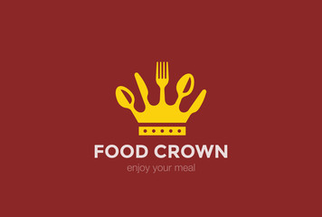 Food Crown of spoon knife fork Logo design vector template..Cook Chief Logotype concept icon