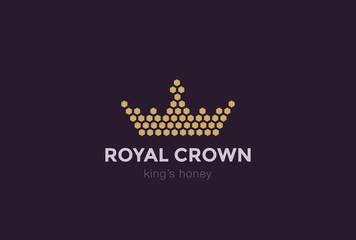 Crown of Hexagon cells Logo design vector template...Royal King Honey Logotype concept idea icon