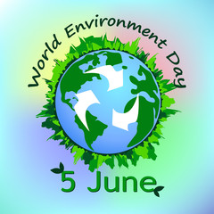 Poster with a picture of the globe to the day of environment protection