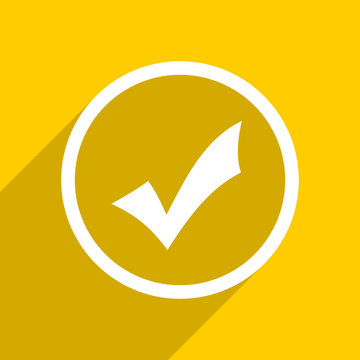yellow flat design accept modern web icon for mobile app and internet
