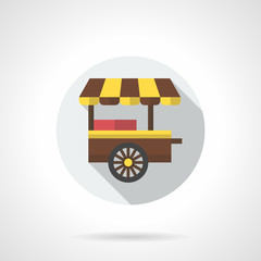 Fast food cart flat color round vector icon
