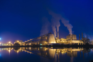 View of pulp mill on waterfront at night, Strait of Juan de Fuca, Port Angeles, Washington State, USA