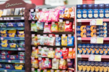 Focus on Shelves with cookies