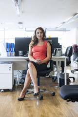 Portrait of mid adult businesswoman sitting in office