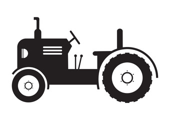 vector Tractor vehicle farm icon on white background