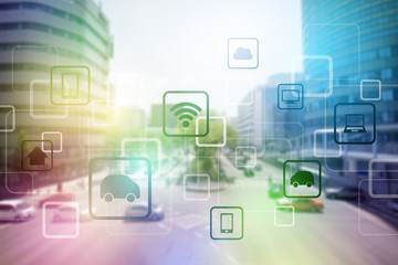 smart city and vehicles, wireless communication network, internet of things (IoT), abstract image visual