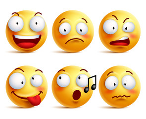 Smiley face icons or emoticons with set of different facial expressions in glossy 3D realistic isolated in white background. Vector illustration