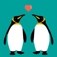 penguins couple love heart vector family cute