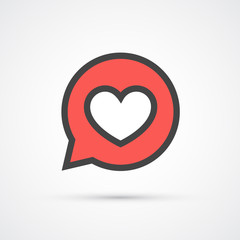 Heart in speech bubble stroke icon. Vector