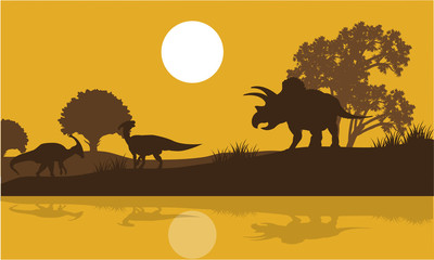 Silhouette of triceratops and parasaurolophus