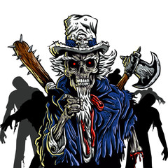Zombie Uncle Sam Vector illustration