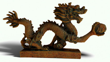 Vintage Chinese Dragon Statue