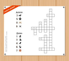 Crossword, education game for children about halloween