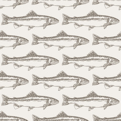 Hand drawn trout fish seamless background. Vector illustration