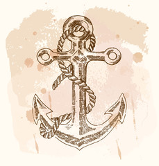 Hand drawn anchor on vintage background. Vector sketch