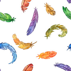 vector seamless pattern with watercolor feathers