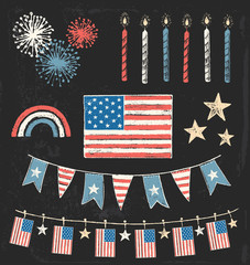 Fourth of July Party Vintage Chalk Vector Set