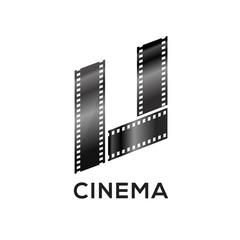 Abstract letter U logo for negative videotape film production