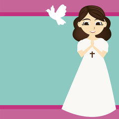 First Communion LITTLE GIRL with WHITE DRESS