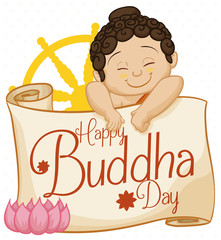 Baby Buddha with Commemorative Scroll, Lotus and Dharma Wheel, Vector Illustration