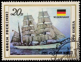 "West German sail training barque ""Gorch Fock II"" (1958) on posta"