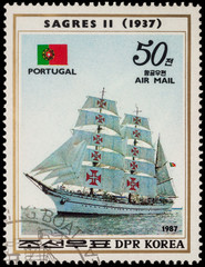"Portuguese sail training ship ""Sagres II"" (1937) on postage stam"