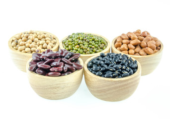 A variety of nuts in a cup On a white background