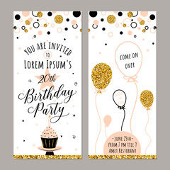 Vector illustration of birthday invitation. Face and back sides. Party background with cupcake, ballon and gold sparkles. Golden elements poster. Vertical banner
