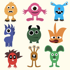 set of monsters in Flete muzzle funny children painted different
