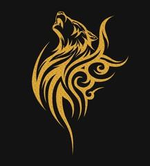 Gold tribal tattoo wolf designs